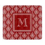 Modelo rojo 1 del damasco con el monograma tablas de cortar