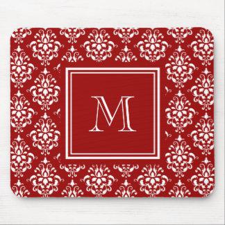 Modelo rojo 1 del damasco con el monograma tapetes de raton