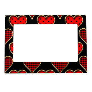 Modelo rojo abstracto retro de moda enrrollado del marcos magnéticos para fotos