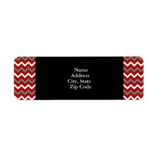 Modelo rojo, blanco y negro de Chevron Etiqueta De Remite