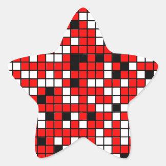Modelo rojo, blanco y negro de los cuadrados pegatina en forma de estrella