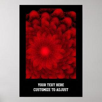 Modelo rojo bonito moderno del fractal poster
