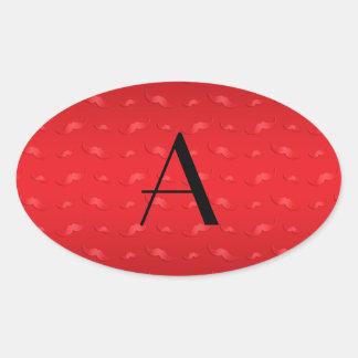 Modelo rojo brillante del bigote del monograma pegatina óval