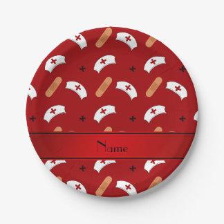 Modelo rojo conocido personalizado de la enfermera plato de papel de 7 pulgadas
