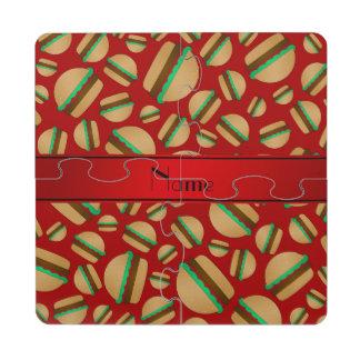 Modelo rojo conocido personalizado de la hamburgue posavasos de puzzle