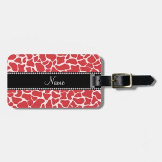 Modelo rojo conocido personalizado de la jirafa etiquetas maleta