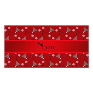 Modelo rojo conocido personalizado del bádminton tarjeta fotografica