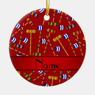 Modelo rojo conocido personalizado del croquet adorno navideño redondo de cerámica