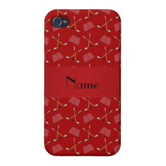 Modelo rojo conocido personalizado del hockey iPhone 4 protector