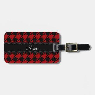 Modelo rojo conocido personalizado del houndstooth etiquetas de maletas
