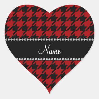 Modelo rojo conocido personalizado del houndstooth pegatina en forma de corazón
