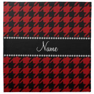 Modelo rojo conocido personalizado del houndstooth servilletas imprimidas