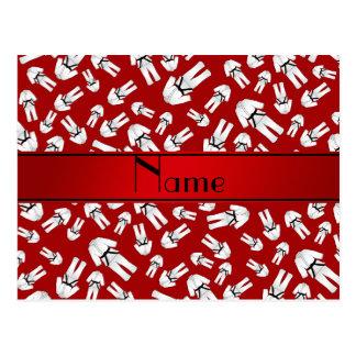 Modelo rojo conocido personalizado del karate tarjetas postales