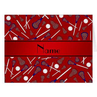 Modelo rojo conocido personalizado del lacrosse felicitación