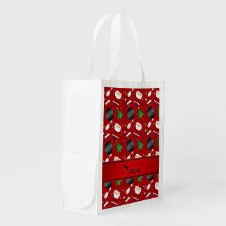 Modelo rojo conocido personalizado del navidad de bolsas reutilizables