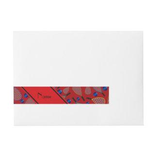 Modelo rojo conocido personalizado del racquetball etiquetas postales