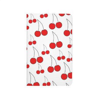 Modelo rojo de la cereza cuaderno grapado