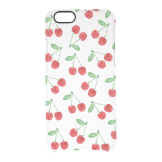 Modelo rojo de la cereza de la acuarela claro funda clear para iPhone 6/6S