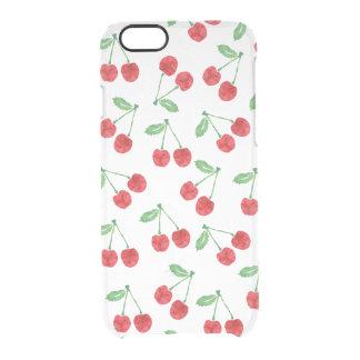Modelo rojo de la cereza de la acuarela claro funda clearly™ deflector para iPhone 6 de uncommon