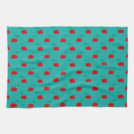 Modelo rojo de la cereza de la turquesa toallas de mano