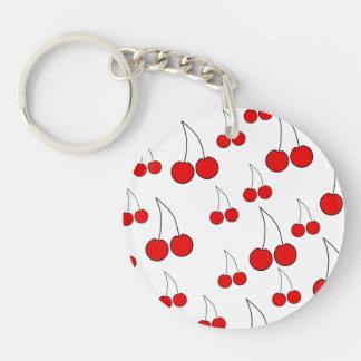 Modelo rojo de la cereza llavero redondo acrílico a doble cara
