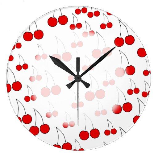 Modelo rojo de la cereza relojes de pared