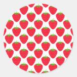 Modelo rojo de la fresa etiquetas redondas