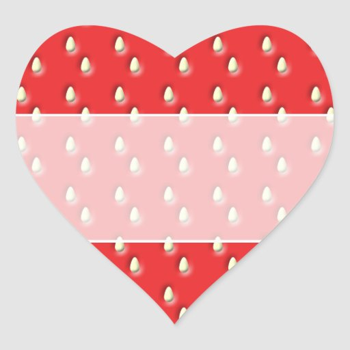 Modelo rojo de la fresa pegatinas de corazon personalizadas