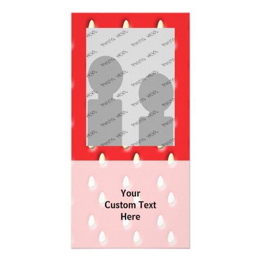 Modelo rojo de la fresa plantilla para tarjeta de foto