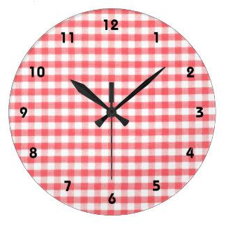 Modelo rojo de la guinga reloj redondo grande
