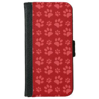 Modelo rojo de la impresión de la pata del perro carcasa de iPhone 6