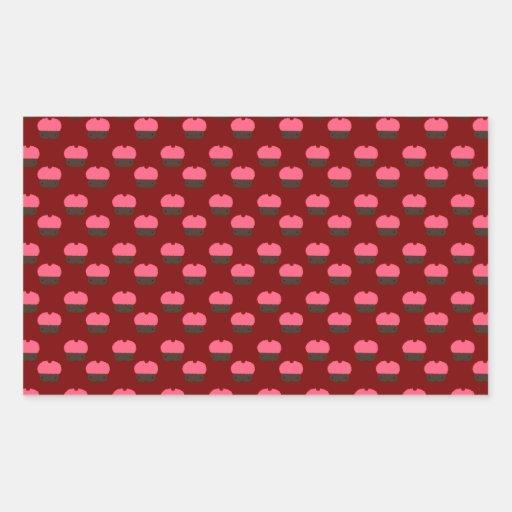 Modelo rojo de la magdalena pegatina rectangular