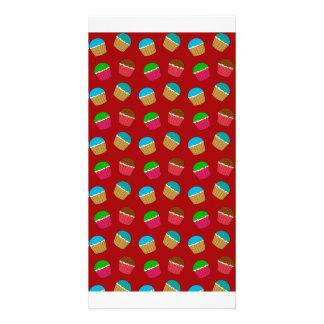 Modelo rojo de la magdalena tarjetas fotograficas personalizadas