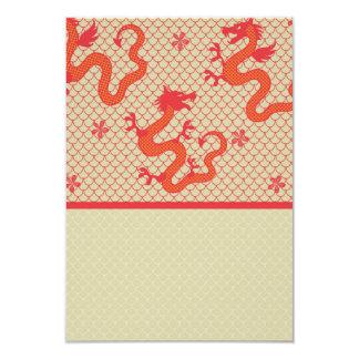 """Modelo rojo de la malla de la escala del dragón invitación 3.5"""" x 5"""""""