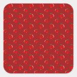 Modelo rojo de la manzana calcomanías cuadradass