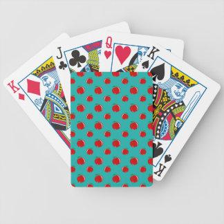 Modelo rojo de la manzana de la turquesa cartas de juego