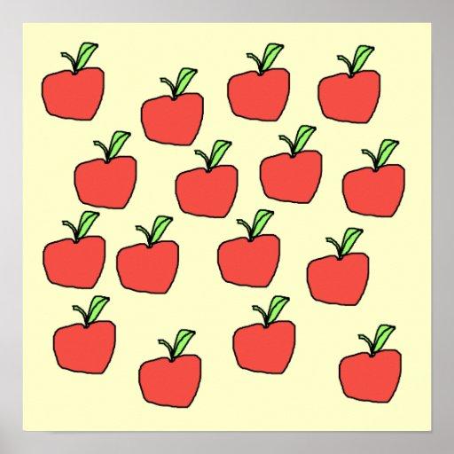 Modelo rojo de la manzana, en la crema poster