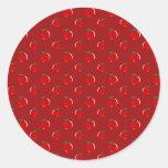 Modelo rojo de la manzana etiqueta redonda