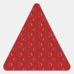 Modelo rojo de la manzana pegatinas trianguladas