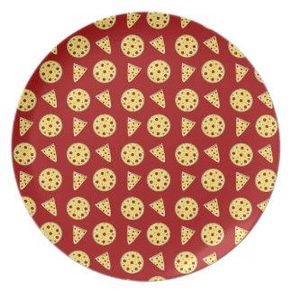 Modelo rojo de la pizza platos para fiestas