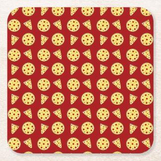 Modelo rojo de la pizza posavasos desechable cuadrado
