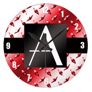 Modelo rojo de la placa de acero del diamante del  relojes de pared