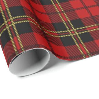 Modelo rojo de la tela escocesa de tartán de papel de regalo