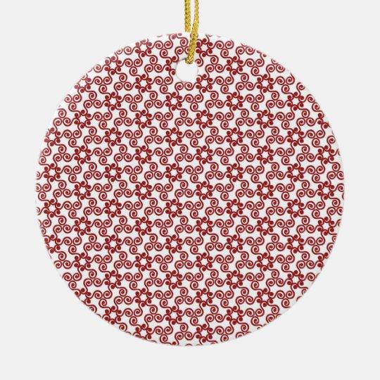Modelo rojo de la voluta del navidad moderno adorno navideño redondo de cerámica