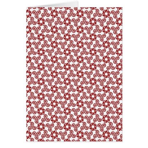 Modelo rojo de la voluta del navidad moderno tarjeta de felicitación