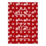 Modelo rojo de los copos de nieve del navidad invitación 12,7 x 17,8 cm