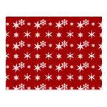 Modelo rojo de los copos de nieve del navidad tarjetas postales