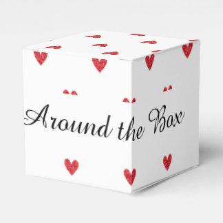 Modelo rojo de los corazones del brillo cajas para regalos de boda