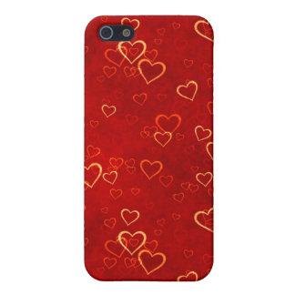 modelo rojo de los corazones iPhone 5 carcasas