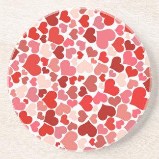 Modelo rojo de los corazones posavasos personalizados